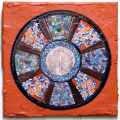 Miniature decorative shield from Chicken Itza, Maya-Toltec culture.