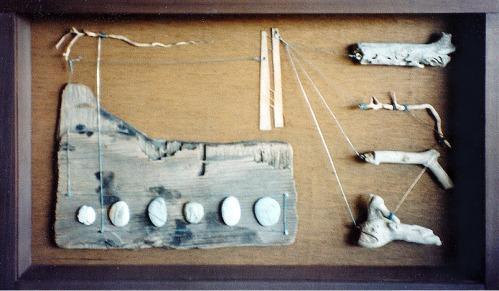 Wood, stones, wire.