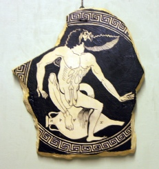 An excited satyr is squatting upon a pointed wine amphora. Centrepiece of a red-figured cup by Onesimos, ca. 500 B.C. Copy by Diana Tanslay Webber, 2015.