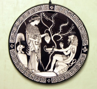 Athene pouring a libation for Hercules, one of the heroes whom she protected. Interior of a red-figured cup held in the British Museum. Copy by Diana Tansley Webber, 2015.