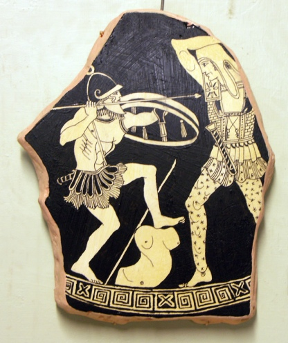 Detail from a vase by the Niobid painter showing Greeks fighting Amazons, ca. 460 B.C.