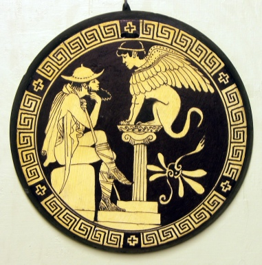 Oedipus and the Sphinx. Attic cup of the fifth century B.C.