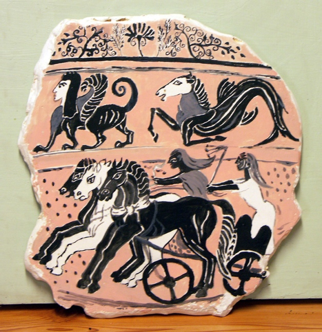 Detail from Etruscan black figure vase.