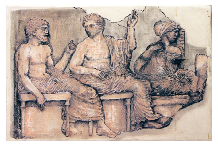 The gods on Olympus. Poseidon, Apollo and Artemus. A marble frieze from the east side of the Parthenon, Athens.