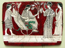 Demeter and Kore offering a libation to Triptolemus before he sets out to spread the benefits of agriculture to mankind.