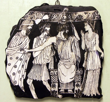The birth of Athene, daughter of Zeus and embodiment of wisdom, springs fully armed from her father's brow, which Hephaestus has just split with an axe. Poseidon and the two goddesses of childbirth, look on. Vase in the British Museum.