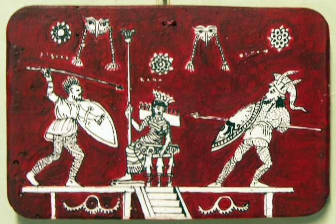 The combat of Ares and Hephaestus over Aphrodite, watched by Hera on her throne.