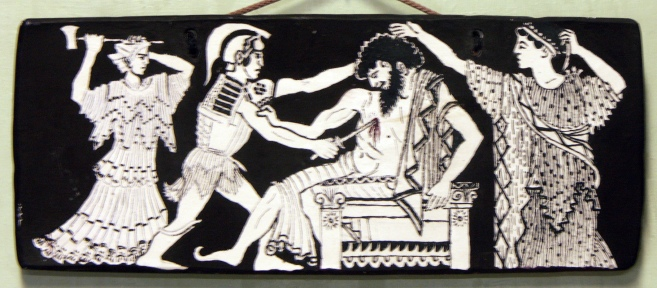 Orestes & Electra killing Aegisthus in the presence of their mother Clytemnestra.