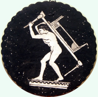A young man carrying a bed and a table through the night sky.