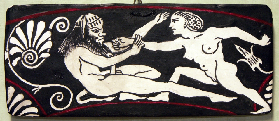 A satyr being assaulted by a naked girl, signed by Phintias.